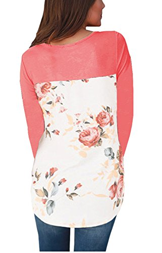 DEARCASE Women's Casual Long Sleeve Floral Print Crew Neck Blouses Tops and Shirts Pink Medium