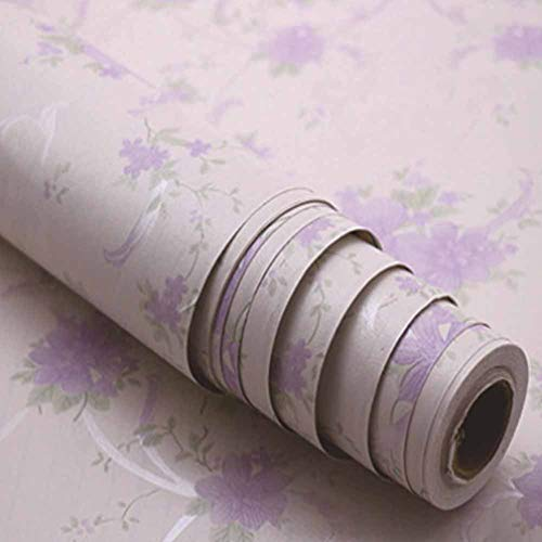 Self Adhesive Wallpaper Roll Pink Background Contact Stick Wallpaper Purple Flowers Falling On Roitous Profusion Wall Decor Film for Bedroom Living Room Dorm 196
