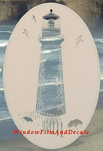 Lighthouse Oval Etched Window Decal Vinyl Glass Cling - 15
