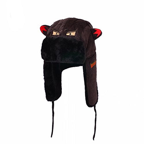 Huan Xun Women Embroidered Big Mouth Vampire Teeth Corduroy Trapper Hats