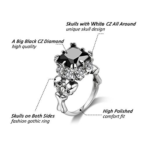 DALARAN Gothic Jewelry Skull Ring Size 9 Silver Band High Polished Comfort Fit Women Men Accessories by DALARAN (Image #1)
