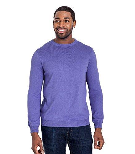 WoolOvers Pullover mit Rundhalsausschnitt aus Baumwolle-Kaschmirwolle für Herren Alpine Blue, M