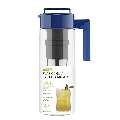 Takeya Iced Tea Maker with Patented Flash Chill Technology Made in USA, 2 Quart, Blueberry by Takeya (Image #1)