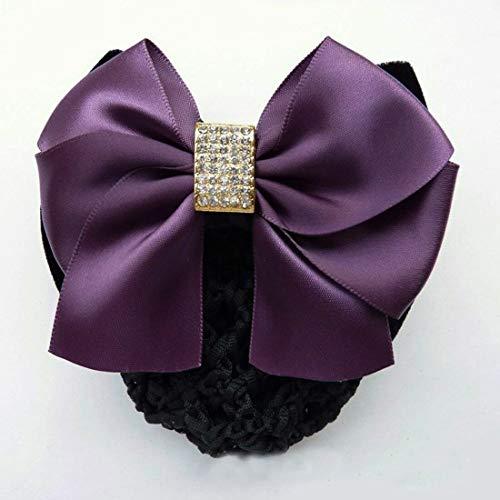 Lace Satin Bow Lady Cover Bowknot Decor Barrette Hair Clip Bowknot Net Bun Snood (Color - A1563- Purple)