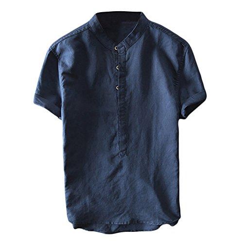 - Mens Linen Henley Shirts Short Sleeve Beach Casual Summer Tops Banded Collar Plain Light T Shirt