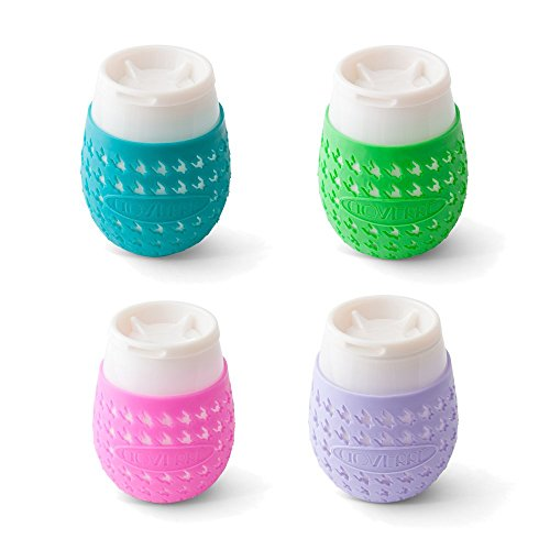 Pink Seal Wine - GOVERRE: Portable Stemless Travel Wine Glass | Tumbler, Silicone Sleeve w/Removable Spill Proof Lid | Take To-Go, Indoor Outdoor Entertaining at Home), 4-pack: Turquoise, Green, Pink & Lavender
