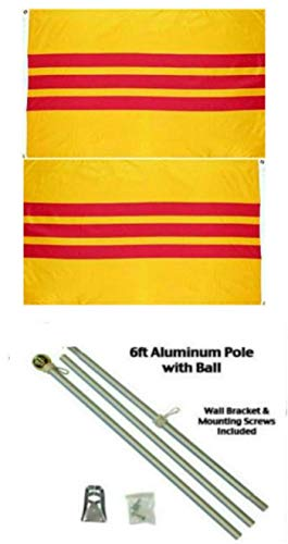 ALBATROS 3 ft x 5 ft South Vietnam Vietnamese 2ply Flag Aluminum Pole Kit Ball Top for Home and Parades, Official Party, All Weather Indoors Outdoors