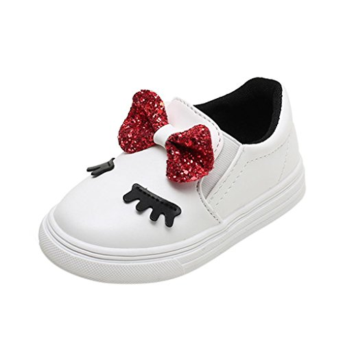 Baby Walking Shoes for 1-6 Years Old,Toddler Girls Kids Soft Sole Anti-Slip Bowknot Shy Eyes Sneaker Casual Shoes (2.5-3 Years Old, White)]()