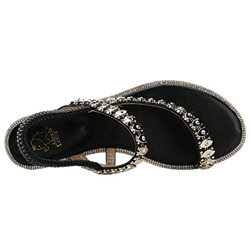 Mujer Sandalias Diamante elástico para Leroy con Alexis diseñar Negro qtCn07xw