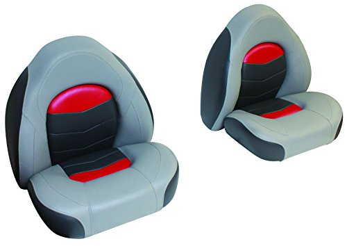 (Wise 3303-1881 Pro-Angler Bass Bucket Seat Set, Marble Grey/Regal Red/Charcoal)