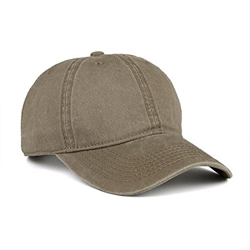 - VANCIC Low Profile Washed Brushed Twill Cotton Adjustable Baseball Cap Dad Hat for Men Women (Light Khaki)