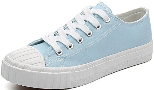 Satuki Canvas Schoenen Voor Dames, Plat Lace Up Casual Sport Loafer Fashion Sneaker Blauw
