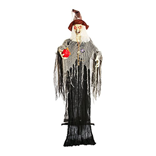 (Halloween Haunters Hanging 7 Foot Scary Wicked Witch Holding Red Apple, Cackle Laughs, Flashing Red LED Eyes Prop Decoration - Sound & Touch Activated, Skull - Haunted House Graveyard Entryway)