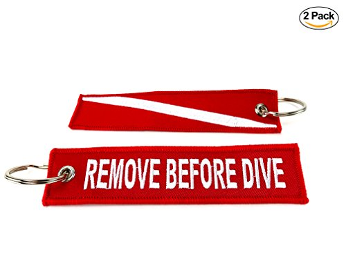 TAKO SPORT 2 Scuba Diver Embroidered Keychains Remove Before Dive Similar to The Remove Before Flight Keychains (Remove Before Flight Clothes)