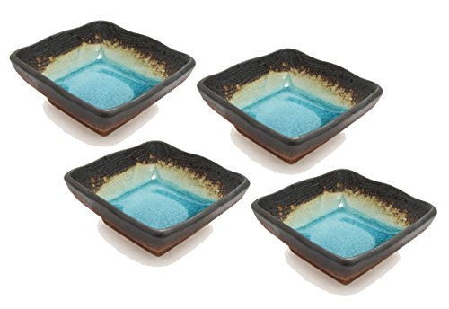 "Happy Sales Green Kosui 2-3/4"" Square Soy Sauce/Dipping Bowls (Set of 4), Turquoise"