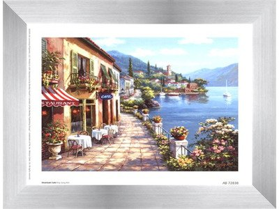 - Poster Palooza Framed Overlook Cafe I- 8x6 Inches - Art Print (Stainless Steel Frame)