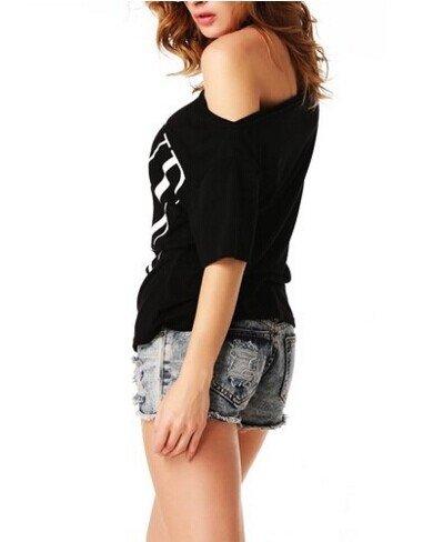 ANGVNS Women's Short Sleeve Letter Print Off Shoulder White Cotton Top T-shirt...
