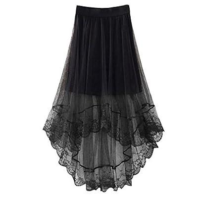 Chiffon Maxi Skirt Gothic Long Dress Gauze See Through Mesh Tulle Lace Design for Women Girl