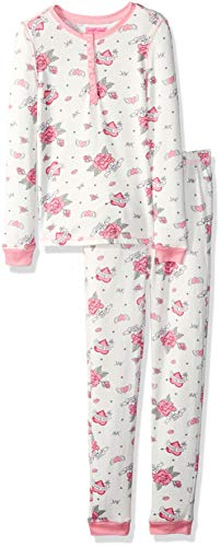 Betsey Johnson Girls' Big Tight fit Pajama Set, Roses, 6