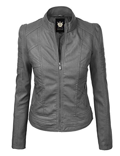 Lock and Love LL WJC746 Womens Vegan Leather Motorcycle Jacket L Grey (Gray Leather Jacket)