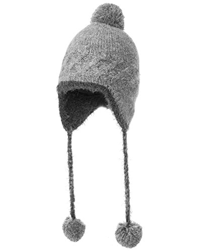 Comhats Womens Knit Gray Peruvian Wool Hat Earflap Pompom Beanies Lined Caps Ski