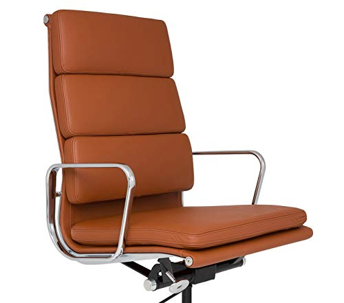 LIVING TRENDS Soft Pad High Back Office Chair - Top Grain Italian Leather Aluminum Frame - Terracotta