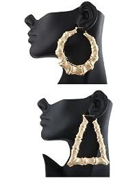 Goldtone 3.25 Inch Bamboo Style Hoop Earrings and a Triangle Bamboo 3.5 Inch Hoop (E-788 + E-799)