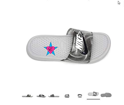timeless design 5438d 4abb1 Amazon.com  Sale Bedazzled Glitter Blue Tropical Nike Benassi JDI Print  Sport Slides  Handmade