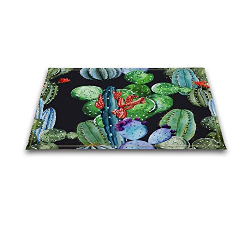 Price comparison product image LB Cactus Watercolor Prickly Pear Print Bath Rugs for Bedroom Bathroom, Flannel Surface Non Slip Backing, Cactus Flower Fruit Succulent Mexican Desert Plant 15 x 23 Inches, Green