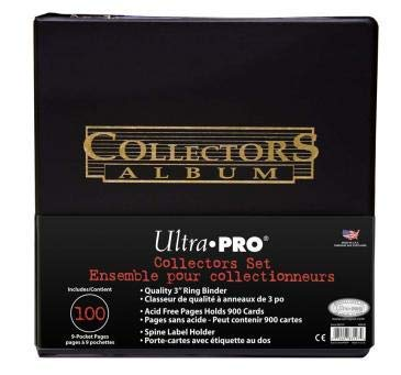 (Ultra Pro Value Limited Edition Gift Pack: One Black Collector's D-ring Binder (Album) with 100 9 Pocket Pages and Special Gold Lettering for Baseball Football Basketball Hockey Yugioh Magic or Pokemon Cards)