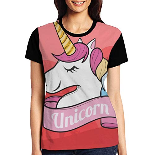 Womens Unicrn_Header Short-Sleeve Crewneck T-Shirt Print Tees Shirt Short Sleeve T Shirt Blouse Tops Black