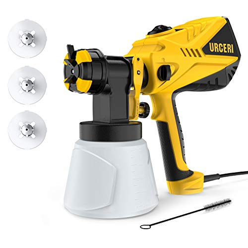 URCERI Paint Sprayer Electric Spray Gun 40.5 fl oz/min HVLP with 3 Spray Patterns 4 Nozzles and 33.8 fl oz Detachable Container 600W Paint Sprayer for Work and DIY Craft Projects