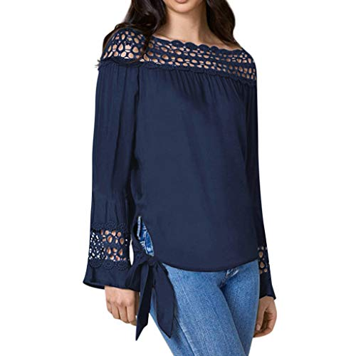 LUCA Women Solid Off Shoulder Ruffled Blouse Lace Patchwork Bandage T-Shirt Top Blue