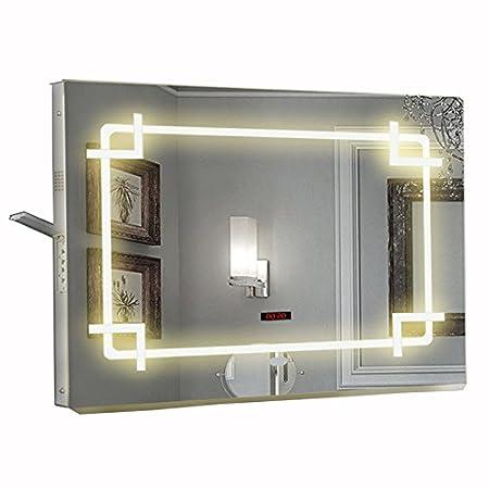 Demister 168 Led Light Mirror With Bluetooth Speaker Modern Illuminated Led Bathroom Mirror With Socket Sensor On And Off 450mm X 700mm