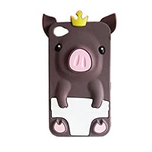 TOOGOO(R) Cute 3D Pig Cartoon Animal Silicone Gel Case Cover for iPhone 4 4G 4S Brown
