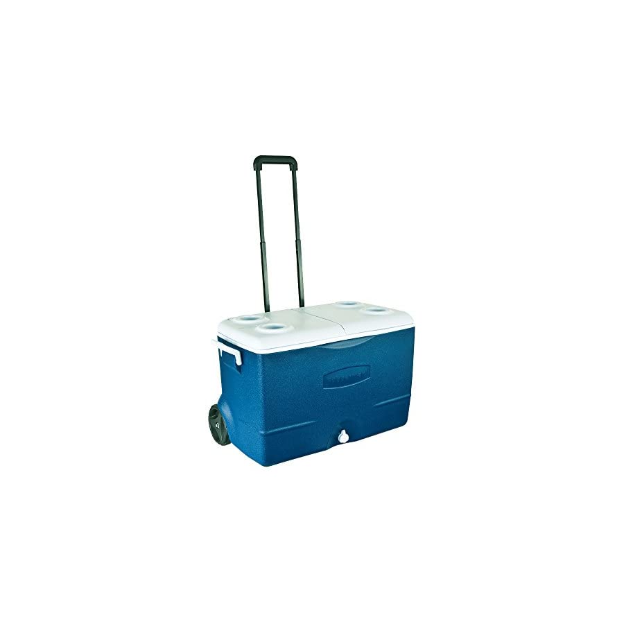 Rubbermaid Extreme 5 Day Wheeled Ice Chest Rolling Cooler, 50 Quart, Blue, FG2A9202MODBL