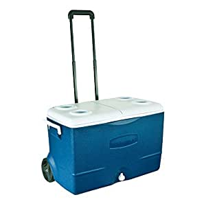 Rubbermaid Extreme 5-Day Wheeled Ice Chest Rolling Cooler, 50-Quart, Blue, FG2A9202MODBL