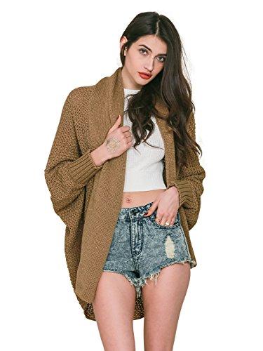 Simplee Apparel Women 's Winter cable Batwing manga Chunky Knitted Cardigan chaqueta de punto acanalado suéter outwear abrigo caqui Beige