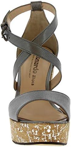 Leonardo Shoes Sandalias de cuña Hechas a Mano Mujer en Piel de Becerro Gris - Número de Modelo: 504 Focus Canna Fucile - Tamaño: 41 EU