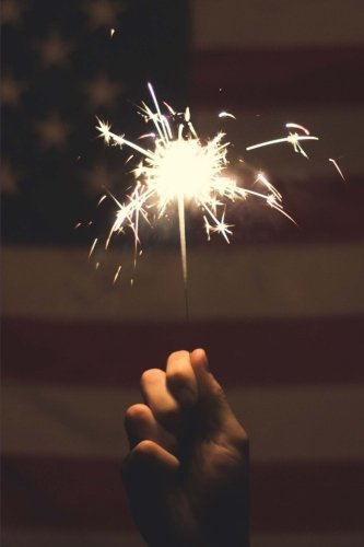 A Sparkler on the Fourth of July and the American Flag Fireworks Journal: 150 Page Lined Notebook/Diary