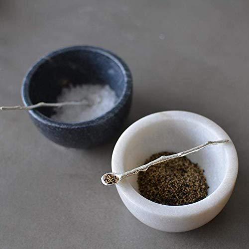 Couleur Nature SPWM1 Marble Salt & Pepper Cellars Decorative Bowl (Silver Salt Cellar)