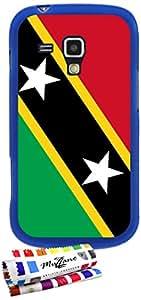 Carcasa Flexible Ultra-Slim SAMSUNG GALAXY TREND de exclusivo motivo [Bandera Kitts y Nevis Santo] [Azul] de MUZZANO  + ESTILETE y PAÑO MUZZANO REGALADOS - La Protección Antigolpes ULTIMA, ELEGANTE Y DURADERA para su SAMSUNG GALAXY TREND