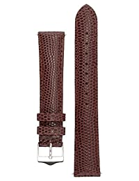 Signature Dragon watch band. Replacement watch strap. Genuine leather. Silver Buckle (20 mm, Dark Brown)