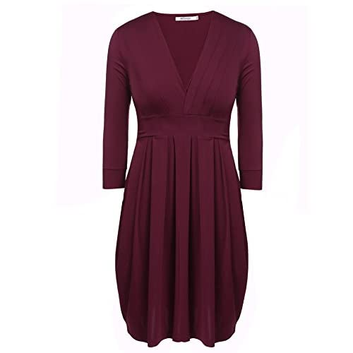 0425bb2c23096 Meaneor Women Plus Size Sexy V-Neck 3 4 Sleeve Pleated Cocktail Party Dress