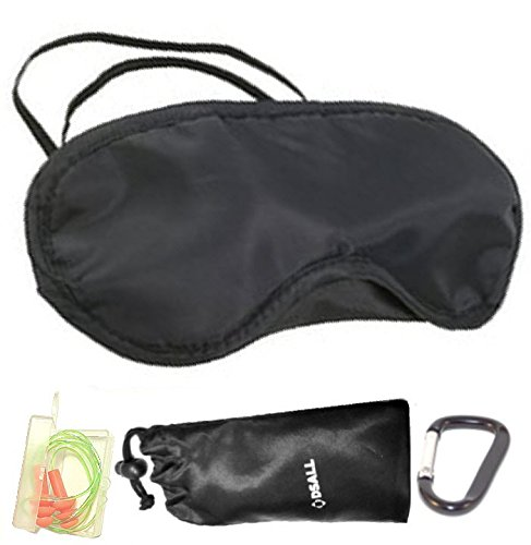 "DSALL 210D Sleep Travel Mask includes Ear Plugs with string as well as tiny holding box and Carry Pouch for Eye Mask and Ear Plugs For Travel, Sleep, Office nap and Meditation. "" Travel in Style """