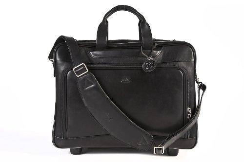 Tony Perotti Cow Torino Italian Leather Carry-on Rolling Wheeled Laptop Briefcase, Black, One Size
