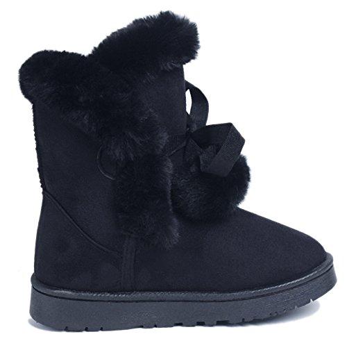 Shoes Invierno Botas Clásicas Negro Ageemi Mujeres Botines Pom Zapato Nieve Bota FqAPd