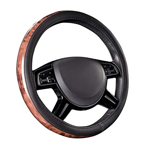 CAR PASS Universal Fit Full Wood Grain Leather Steering Wheel Covers Fit for Suvs,Trucks,Sedans, Anti-Slip Design ...(Black)