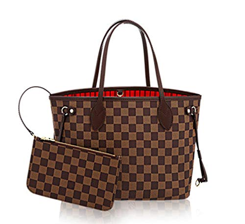 Womens Classic Canvas Neverfull Top-Handle Tote Bag Large Volume Shoulder Bag (GM 40cm, damier ebene with red ()