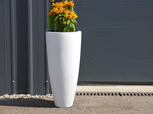 Blumenkübel CIGAR Ø32x H65cm aus Fiberglas in Hochglanz weiß, Pflanzkübel, Pflanzgefäße